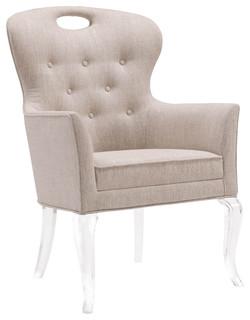 Anais Hollywood Regency Acrylic Tufted Linen Dining Arm Chair