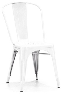 Amalfi Stackable Vintage-Style Side Chairs Glossy White Set of 4