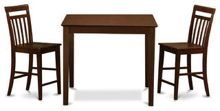 3 Piece Gathering Table Set-Square Pub Table And 2 Stools