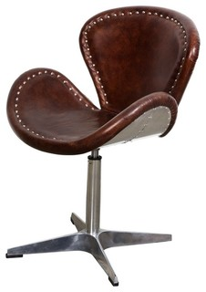 Vintage Style Leather Swivel Chair