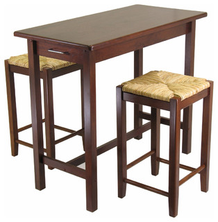 Sally 3-Piece Breakfast Table Set With 2 Rush Seat Stools