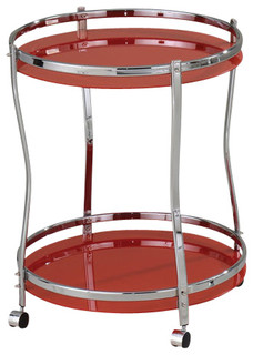 Chrome Finish 2-Tier Tempered Frosted Glass Serving Kitchen Cart Red