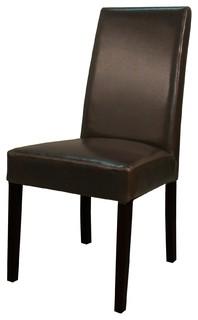 Hartford Genuine Split Leather Chair Brown Set of 2