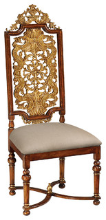 Jonathan Charles Jacobean Style Gilt Walnut Side Chair 492491