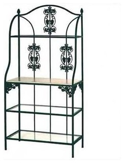"36"" Vineyard Bakers Rack-Bleached Wood and Glass Shelves Deep Red"
