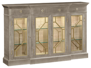 Jonathan Charles Opera 4-Door Breakfront Display Cabinet