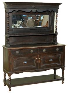 Consigned 1940 Antique Solid Oak Mirrorback Buffet Sideboard Server BAH12