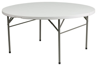 "60"" Round Bi-Fold Granite Plastic Folding Table"