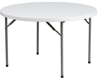 "Granite White Round Plastic Folding Table 48""x48""x29.25"""
