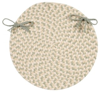 Braided Elmwood Chair Pad Green Round 15 - Set of 4