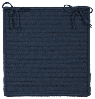 Braided Simply Home Solid Chair Pad Blue Square 15 - Set of 4