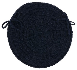 "Braided Spring Meadow Chair Pad Blue Round 15"" - Set of 4"