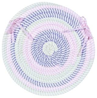 Braided Ticking Stripe Chair Pad Pink Round 15 - Set of 4