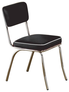 Retro Chrome Coke Chairs With Black Cushions By Coaster 2066 Set Of 2