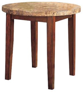 Bologna Counter Height Table Brown Marble and Brown Cherry