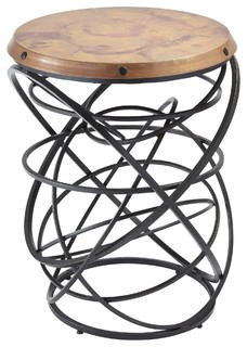 Global Views Rustic Copper Top Ring Round Accent Table