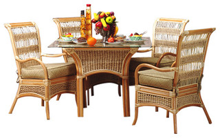 Spice Island 5-Piece Dining Set in Natural Clemens Noir Fabric