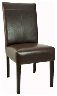 Antique-Style T-Patch Leather Dining Chair Brown