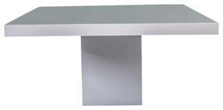 Beech Dining Table White Lacquer White Glass