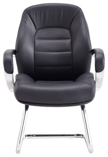 Modern Gates Leather and Chrome Side Chair With Aluminum Base Black