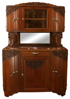 Consigned 1920 French Art Deco Buffet Curvy Handles