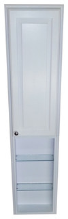 """66"""" Recessed White Enamel Finished Montery Pantry Storage Cabinet With 36"""" Shelf"""