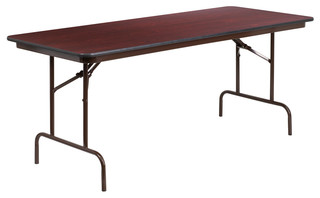 30'' x 72'' Rectangular Mahogany Melamine Laminate Folding Banquet Table