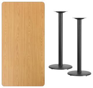 Rectangular Natural Table Top XU-NATTB-3060-TR18B-GG