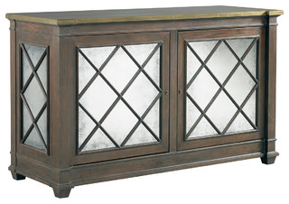 Lillian August Addison 2 Door Server with Brass Trim Top