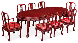 """96"""" Dragon Motif Oval Dining Table With 8 Chairs"""