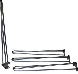 "28"" Hairpin Legs Raw Steel Three-Rod Set of 4"