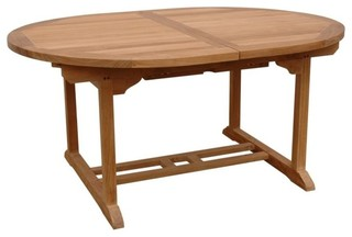 """Anderson Teak Bahama 87"""" Oval Extendable Patio Dining Table in Natural"""