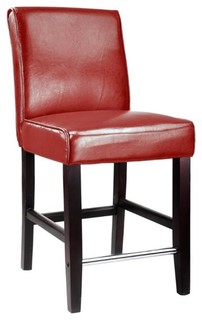 """CorLiving Antonio 25"""" Bonded Leather Counter Stool in Red"""