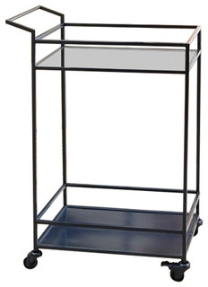 Abbyson Living Kitchen Cart in Charcoal Blue