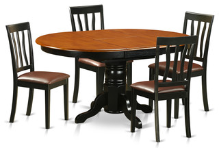 Jolene Dining Table Set Black and Cherry 5 Pieces Faux Leather