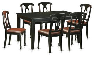 Angela Rectangular Dining Table Set Black 7 Pieces
