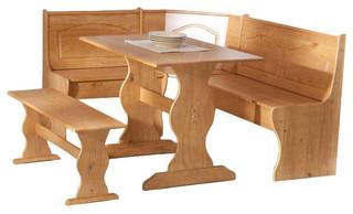 Reversible 3-Piece Corner Dining Set Light Honey Natural Wood Finish