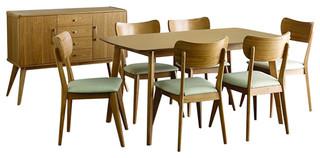 Homelegance Anika 8-Piece Rectangular Dining Room Set in Light Ash