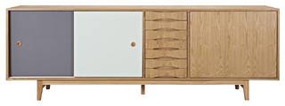 Alma Sideboard Gray and Mint Natural