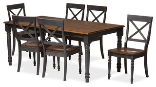 Rosalind Weathered Dove Gray and Oak Brown 2-Tone Wood Top 7-Piece Dining Set