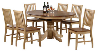 Sunset Trading 7-Piece Brook Round or Oval Butterfly Leaf Dining Set