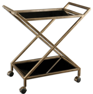 Uttermost 25013 Zafina Bar Cart Gold