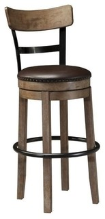 """Bowery Hill 30.25"""" Faux Leather Swivel Bar Stool Light Brown"""
