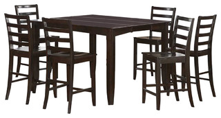 """East West Fairwinds 7-Piece 54"""" Square Counter Height Set With 6 Wood Chairs"""