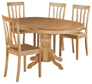"East West Avon 5-Piece 60""x42"" Oval Dining Table Set With 4 Solid Dining Chairs"