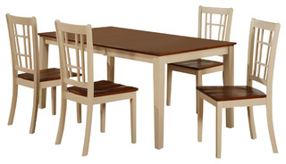 East West Nicoli 5-Piece 66x36 Rectangular Dining Table Set With 4 Chairs