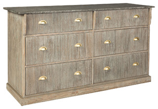 Zale Rustic Coastal Grey Wood Brass Sideboard - 6 Drawers