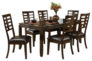 Standard Furniture Bella 8-Piece Dining Room Set with Faux Marble Top