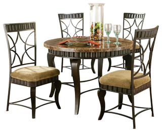 Steve Silver Hamlyn 6-Piece Dining Room Set with Marble Top and Metal Base
