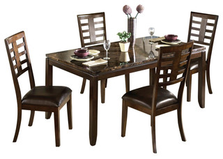 Standard Furniture Bella 5-Piece Dining Room Set with Faux Marble Top